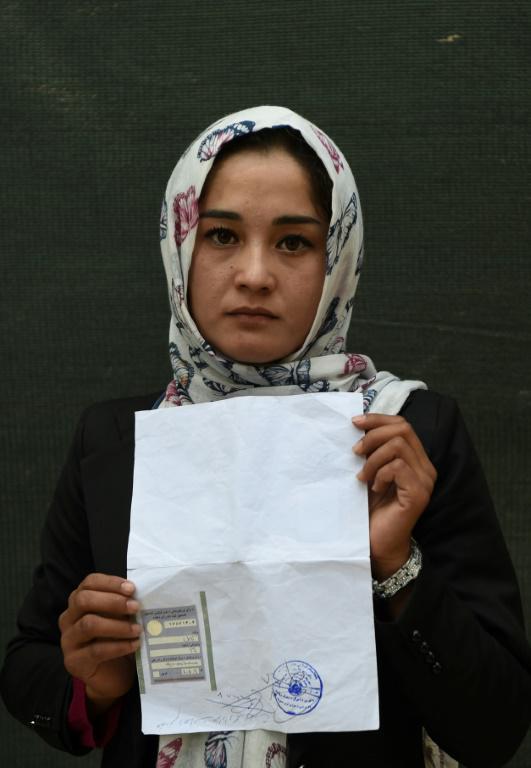 Zahra Faramarz, étudiante, le 11 octobre 2018 à Kaboul, en Afghanistan [WAKIL KOHSAR / AFP]