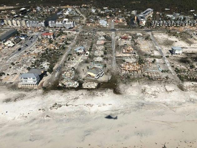 Vue des dégâts à Mexico Beach, le 11 octobre 2018, après le passage de l'ouragan dévastateur Michael   [Colin HUNT / US Coast Guard/AFP]