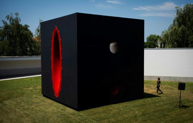"""Un visiteur devant une oeuvre du sculpteur britannique Anish Kapoor lors de l'ouverture de l'exposition """"Anish Kapoor: œuvres, pensées, expériences"""", le 6 juillet 2018 dans le parc de la Fondation Serralves, à Port, au Portugal [MIGUEL RIOPA / AFP]"""