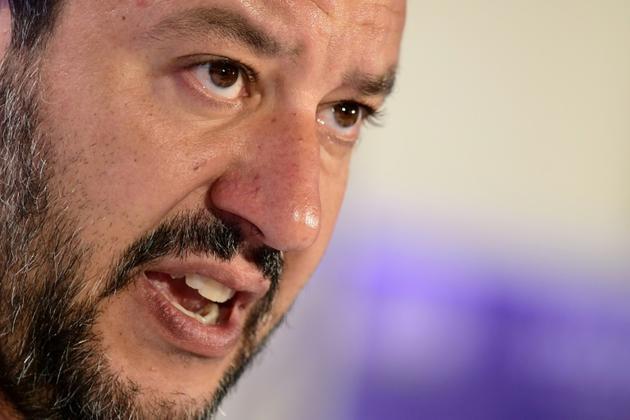 Le ministre de l'Intérieur italien Matteo Salvini lors d'une conférence de presse à Milan le 27 mai 2019 [Miguel MEDINA / AFP/Archives]