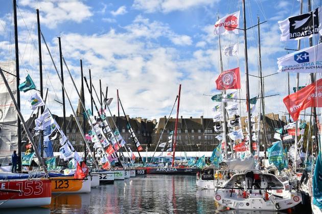 Voiliers de la 11e édition de la Route du Rhum au port de départ à Saint-Malo, le 29 octobre 2018 [LOIC VENANCE / AFP]