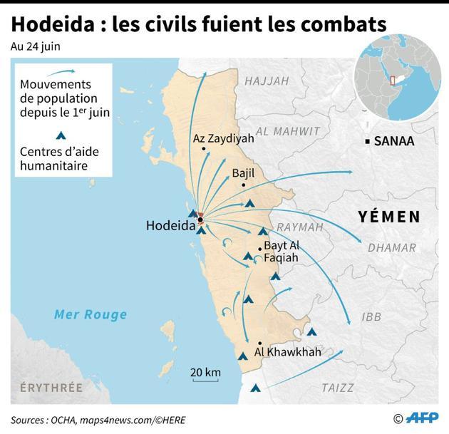 Yémen: les civils fuient les combats à Hodeida [Cecilia SANCHEZ / AFP]