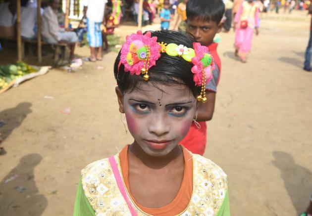 Une petite fille rohingya pour les festivités de Eid Al-Adha, dans le camp de réfugiés de Balukhali, au Bangladesh, le 22 août 2018 [Dibyangshu SARKAR / AFP]
