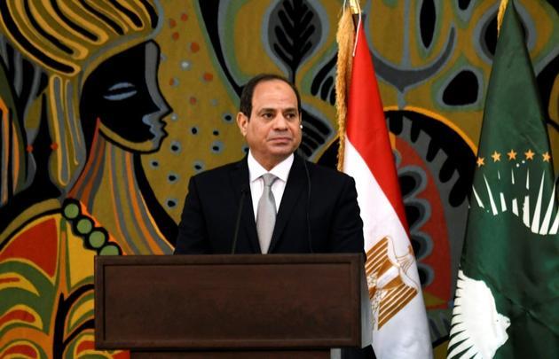 Le président égyptien Abdel Fattah al-Sissi lors d'une visite d'Etat au Sénégal, à Dakar, le 12 avril 2019 [SEYLLOU / AFP/Archives]