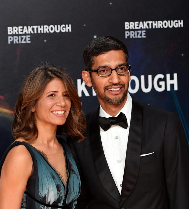 Sundar Pichai et sa femme Anjali Pichai début novembre [JOSH EDELSON / AFP/Archives]