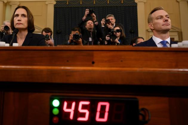 Fiona Hill et David Holmes entendus au Congrès américain à Washington le 21 novembre 2019 [JIM WATSON / AFP]