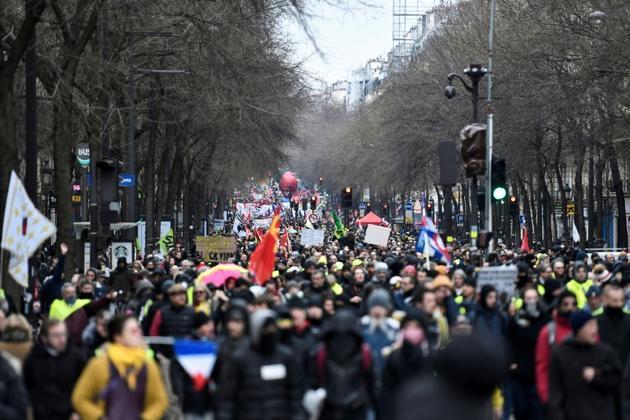 Manifestation contre la réforme des retraites à Paris le 28 décembre 2019 [STEPHANE DE SAKUTIN / AFP]