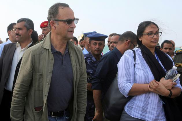 Le chef des observateurs de l'ONU, le général à la retraite Patrick Cammaert, en visite au port de Hodeida (Yémen), le 24 décembre 2018 [STR / AFP/Archives]