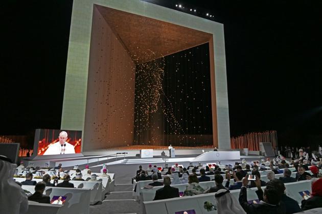 Le pape François prononce un discours, le 4 février 2019 à Abou Dhabi [Vincenzo PINTO                       / AFP]