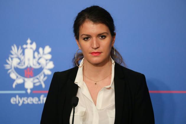 La secrétaire d'État à l'Égalité femmes-hommes, Marlène Schiappa, en conférence de presse à l'Élysée à Paris, le 21 mars 2018 [LUDOVIC MARIN / AFP/Archives]