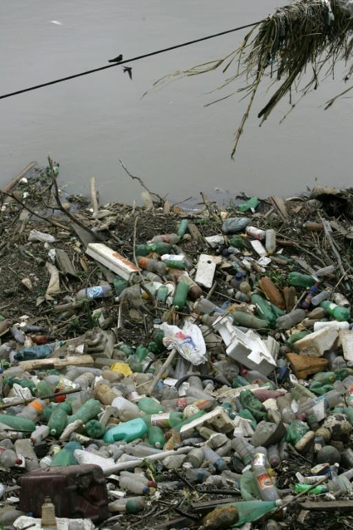 Des bouteilles en plastique échouées sur la rive du fleuve Tiete, à Sao Paulo, au Brésil, le 30 janvier 2008 [MAURICIO LIMA / AFP]