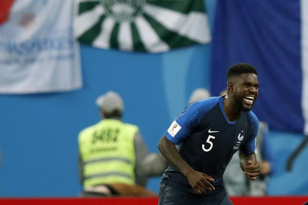 Le défenseur Samuel Umtiti buteur lors de la victoire de la France 1-0 face à la Belgique en demi-finale du Mondial le 10 juillet 2018 [Odd ANDERSEN / AFP]