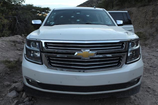 Une voiture dans laquelle plusieurs membres de la famille LeBaron ont été tués, le 5 novembre 2019 à Bavispe, au Mexique [STR / AFP]
