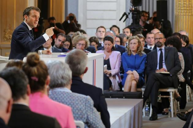 Emmanuel Macron lors de la conférence de presse donnée le 25 avril 2019 à l'issue du grand débat national [ludovic MARIN / AFP/Archives]