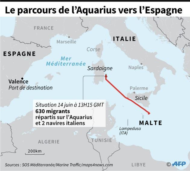Le parcours de l'Aquarius vers l'Espagne [Paz PIZARRO / AFP]