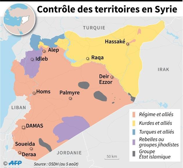 Contrôle des territoires en Syrie [Omar KAMAL / AFP]