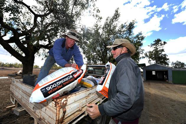 Un fermier australien donne des fournitures agricoles à un autre fermier affecté par la sécheresse à Gunnedah, en Nouvelle-Galles du Sud, le 7 août 2018 [Saeed KHAN / AFP]
