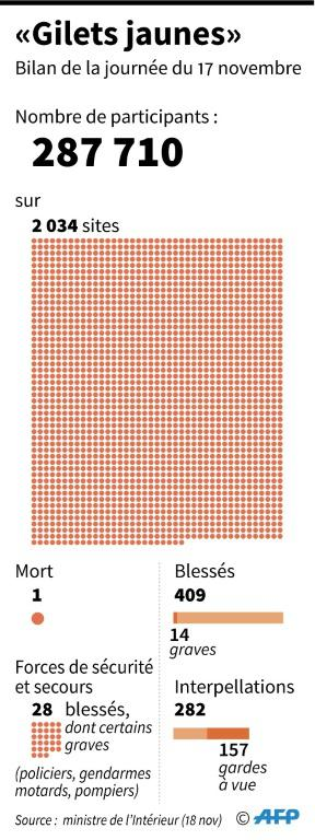 """""""Gilets jaunes"""" : le bilan de la journée du 17 novembre [ / AFP]"""