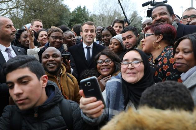 Emmanuel Macron à Evry-Courcouronnes, le 4 février 2019 [ludovic MARIN / POOL/AFP]