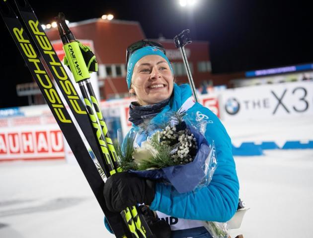 Justine Braisaz, vainqueure de l'individuel d'Ostersund (Suède), le 5 décembre 2019 [Fredrik SANDBERG / TT NEWS AGENCY/AFP]