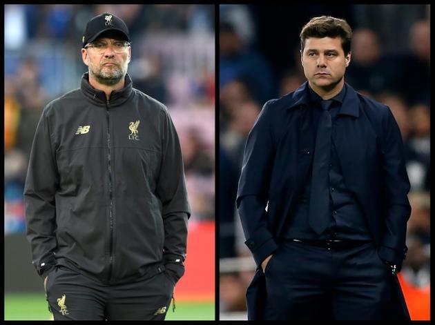 Jürgen Klopp (g) et Mauricio Pochettino, les entraîneurs de Liverpool et Tottenham qui s'affrontent en finale de la Ligue des champions le 1er juin 2019 [Ian KINGTON, Josep LAGO / AFP/Archives]