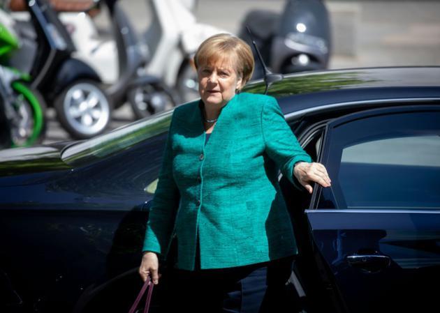 La chancelière allemande Angela Merkel à son arrivée pour une rencontre avec la direction de son parti, la CDU, le 14 juiin 2018 à Berlin [Kay Nietfeld / dpa/AFP]