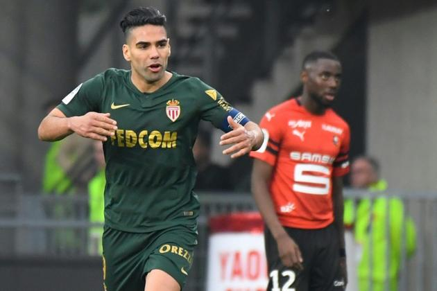 L'attaquant colombien de Monaco Radamel Falcao auteur du doublé sur le terrain de Rennes, le 1er mai 2019 [DAMIEN MEYER / AFP]