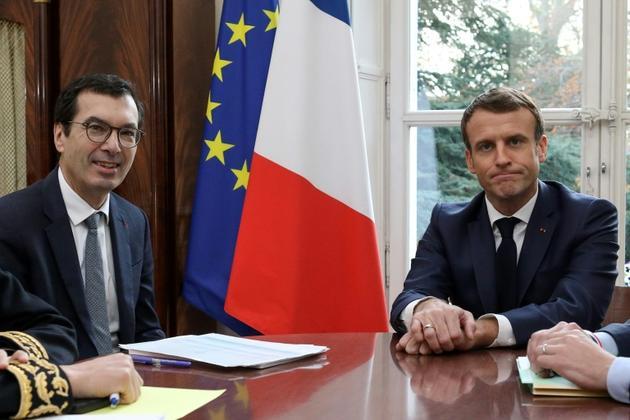 Rencontre entre Jean-Pierre Farandou, nouveau patron de la SNCF, et Emmanuel Macron le 22 novembre 2019 à Amiens [Stephane LEMOUTON / POOL/AFP]
