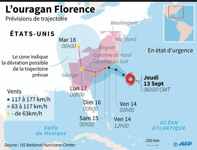 Prévisions de trajectoire de l'ouragaon Florence le jeudi 13 septembre à 06h00 GMT [AFP / AFP]