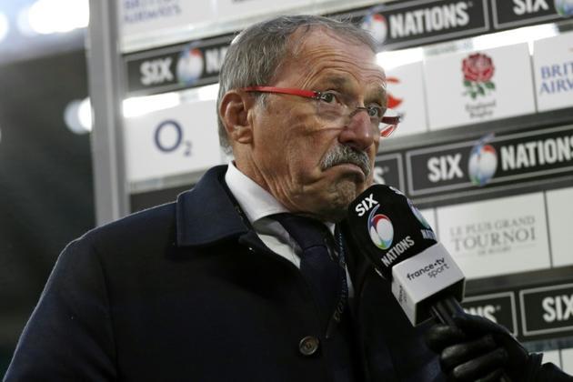 Le sélectionneur Jacques Brunel s'exprime sur la défaite du XV de France devant l'Angleterre à Twickenham, le 10 février 2019 [Adrian DENNIS / AFP]