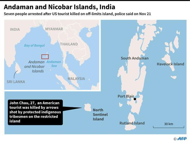 Carte du territoire indien des îles d'Andaman et Nicobar [AFP / AFP]