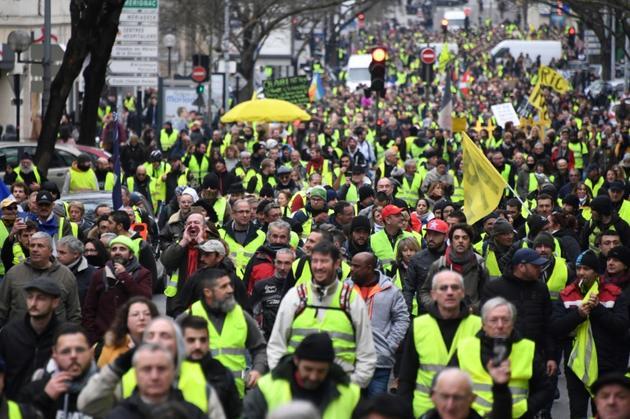 """Manifestation de """"gilets jaunes"""", le 12 janvier 2019 à Bordeaux  [MEHDI FEDOUACH / AFP]"""