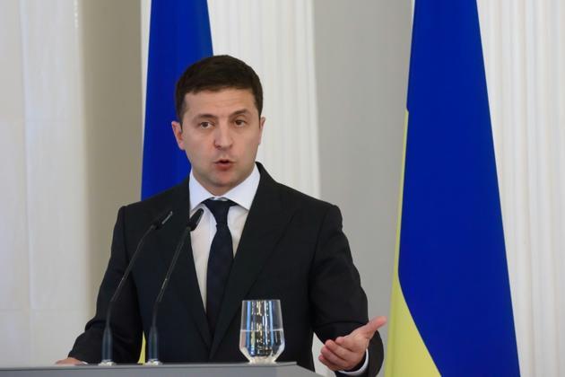 Le président ukrainien Volodymyr Zelensky à Riga le 16 octobre 2019 [Gints Ivuskans / AFP/Archives]