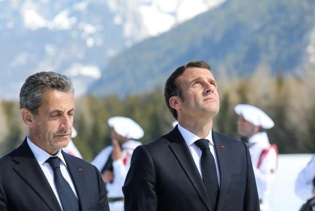 Emmanuel Macron et Nicolas Sarkozy lors d'un hommage aux résistants du plateau des Glières, en Haute-Savoie le 31 mars 2019 [LUDOVIC MARIN / POOL/AFP/Archives]