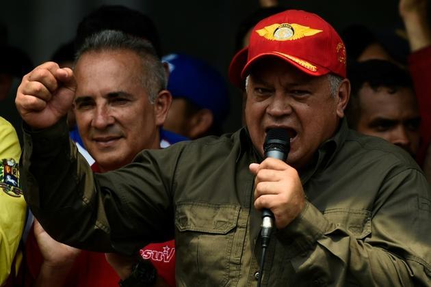 Le président de l'Assemblée constituante, Diosdado Cabello, fidèle de Nicolas Maduro, prononce un discours près de la frontière avec la Colombie, le 24 février 2019 à San Antonio del Tachira (Venezuela) [Federico Parra / AFP]