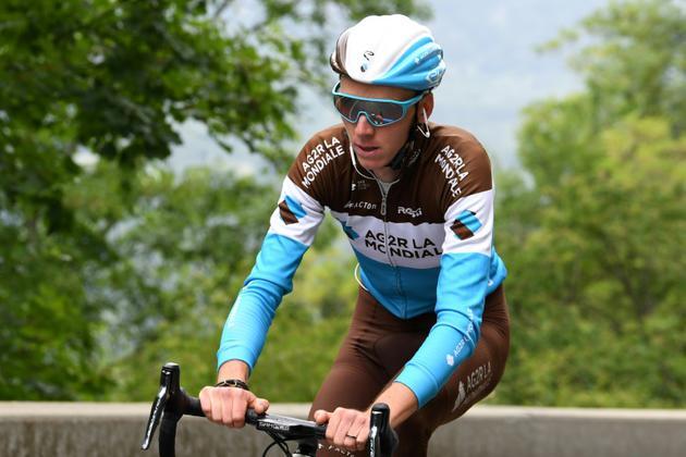 Le cvouoreur de l'AG2R Romain Bardet en reconnaissance de la montée de l'Alpe d'Huez, le 13 juin 2018 [JEAN-PIERRE CLATOT / AFP/Archives]