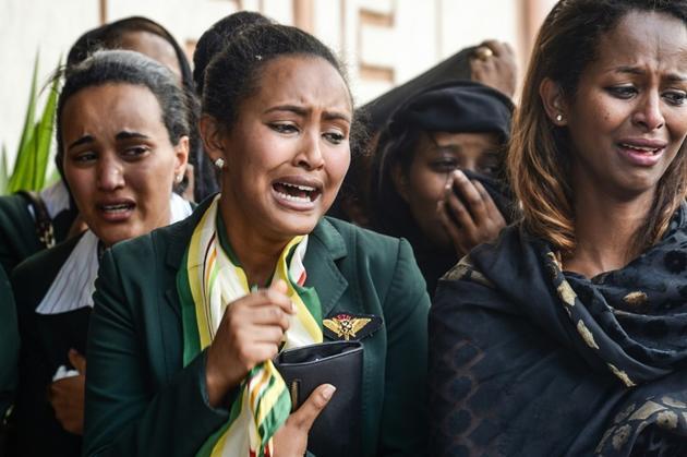 Des proches des victimes du crash à la cathédrale d'Addis Abeba le 17 mars 2019<br /> [- / AFP]