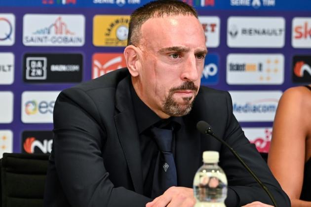 Franck Ribéry lors de sa présentation à la Fiorentina, le 22 août 2019 à Florence  [Andreas SOLARO / AFP]