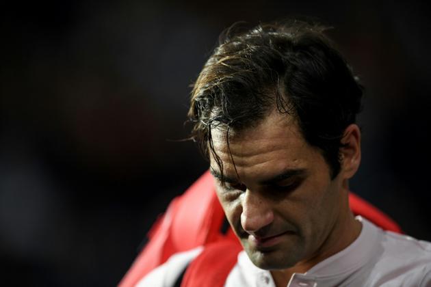 Roger Federer après sa défaite contre Novak Djokovic en demi-finale du Masters 1000 de Paris, le 3 novembre 2018   [CHRISTOPHE ARCHAMBAULT  / AFP]