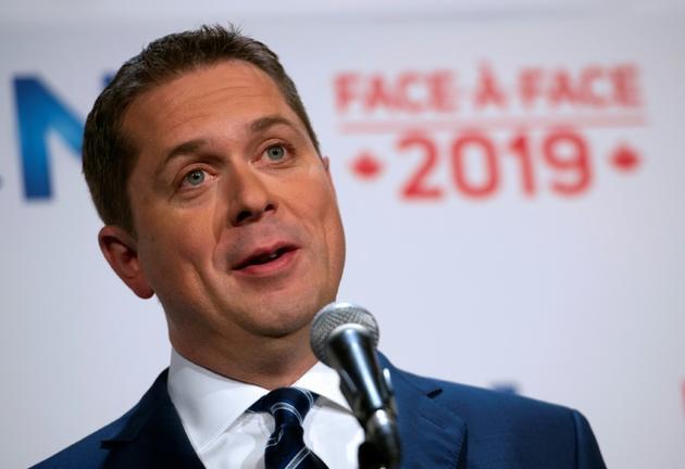 Le chef du parti conservateur Andrew Scheer lors d'un débat électoral à Montréal, Canada, le 2 octobre 2019 [Sebastien ST-JEAN / AFP]