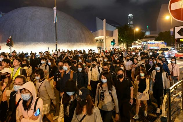 Manifestation de soutien aux étudiants de l'Université polytechnique de Hong Kong barricadés depuis plus d'une semaine dans leur campus, le 25 novembre 2019 [YE AUNG THU / AFP]