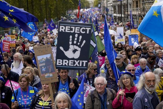 Manifestation d'ampleur à Londres pour réclamer un nouveau référendum sur le Brexit, le 19 octobre 2019 [Niklas HALLE'N / AFP]