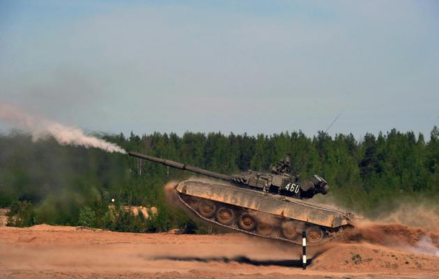 Un tank russe T-80 à Sertolovo, près de Saint-Petersbourg, le 14 mai 2016 [OLGA MALTSEVA / AFP/Archives]