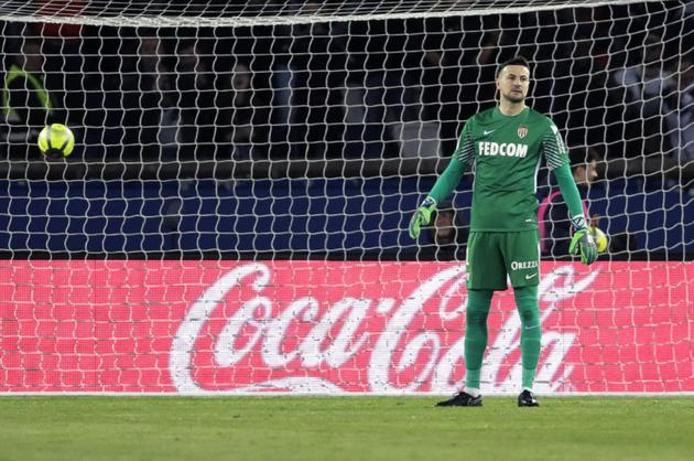Le gardien de but croate de Monaco, Danijel Subasic, durant le match de Ligue 1 face au Paris SG, le 15 avril 2018, au Parc des Princes [Thomas Samson / AFP/Archives]