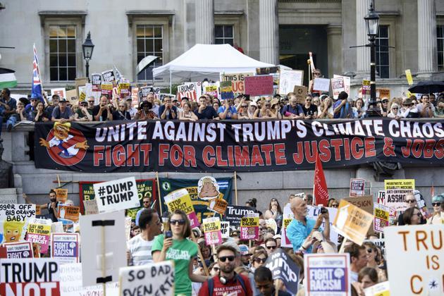Manifestation contre la visite du président américain Donald Trump en Grande-Bretagne, le 13 juillet 2018 à Londres [Niklas HALLEN / AFP]