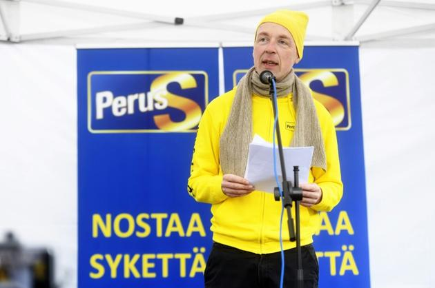 Jussi Halla-aho, chef du parti d'extrême droite des Vrais Finlandais, le 14 avril 2019 à Vantaa [Vesa Moilanen / Lehtikuva/AFP]
