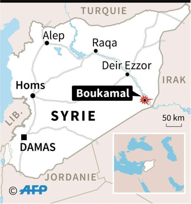 Carte de la Syrie localisant Boukamal, attaqué par des missiles balistiques des Gardiens de la révolution iraniens en représailles à l'attentat d'Ahvaz du 22 septembre [Paul DEFOSSEUX / AFP]