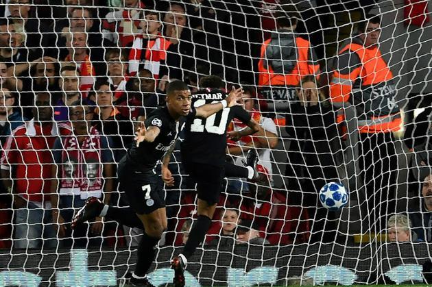 Kylian Mbappé buteur pour le PSG lors de la défaite 3-2 face à Liverpool en 1re journée de C1 le 18 septembre 2018 [Paul ELLIS / AFP]