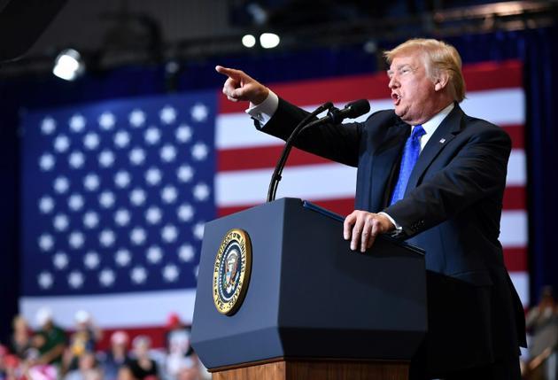 Le président des Etats-Unis Donald Trump durant un meeting à Las Vegas le 20 septembre 2018. [MANDEL NGAN / AFP]