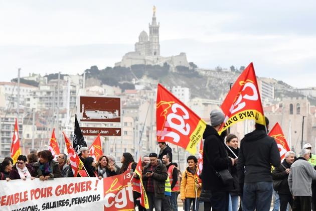 Manifestation contre la réforme des retraites à Marseille le 5 décembre 2019 [CLEMENT MAHOUDEAU / AFP]